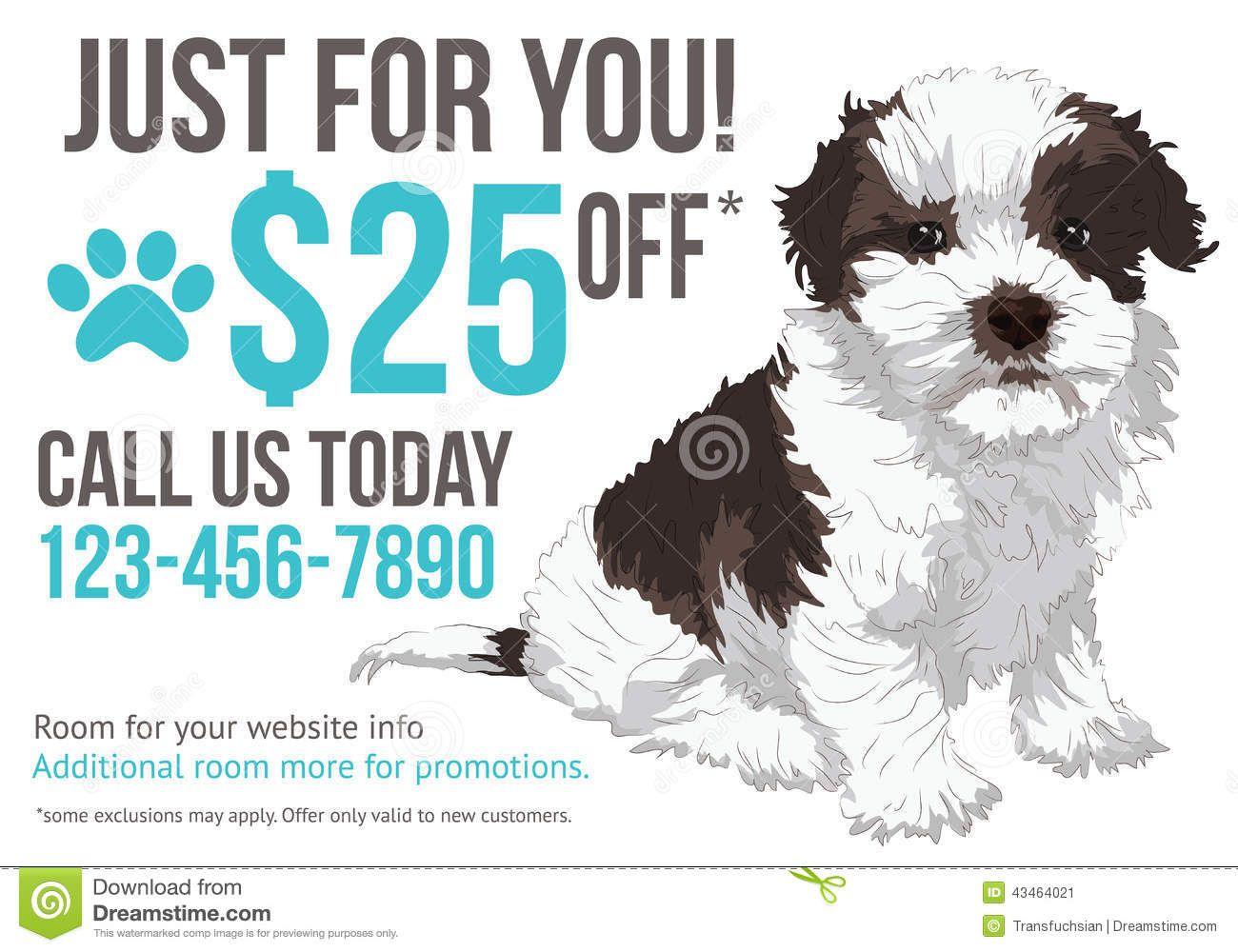 Grooming advertisement postcard template Pet grooming