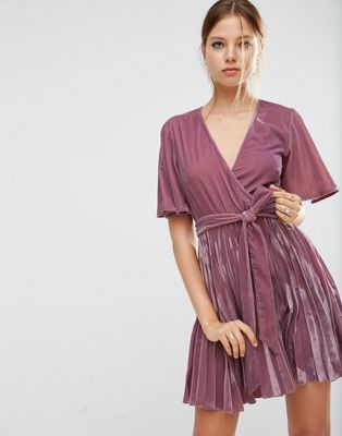 ASOS Velvet Wrap Front Pleated Skater Dress    if they had midi length of  this I d use them as bridesmaid dresses  e658c48a9