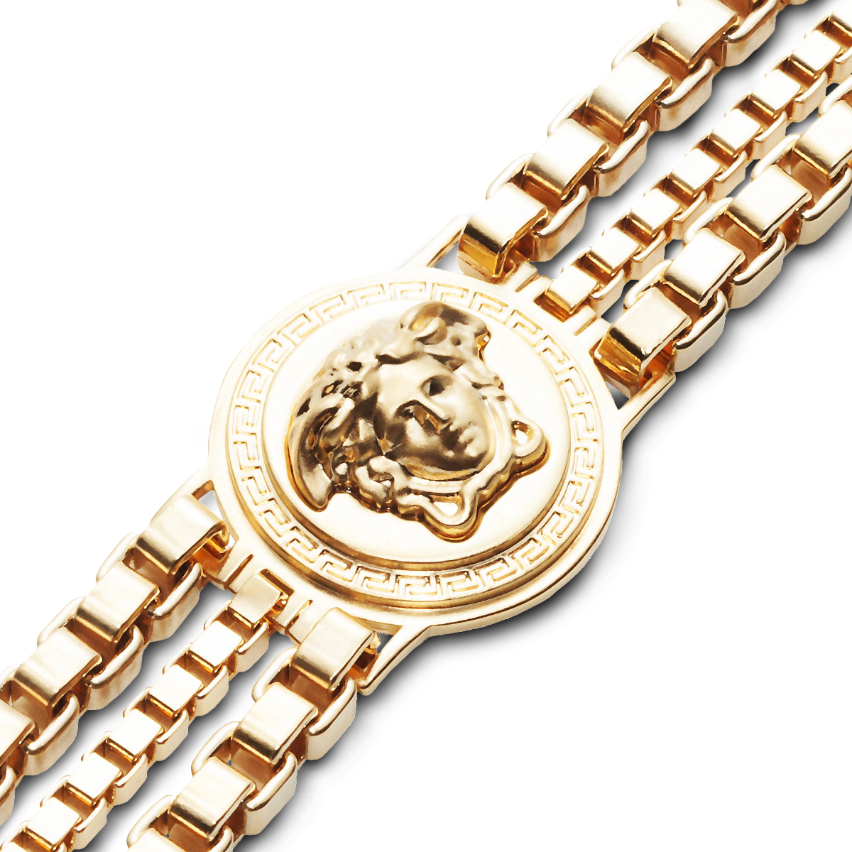 Distinctive sign versace medusa triple chain bracelet discover