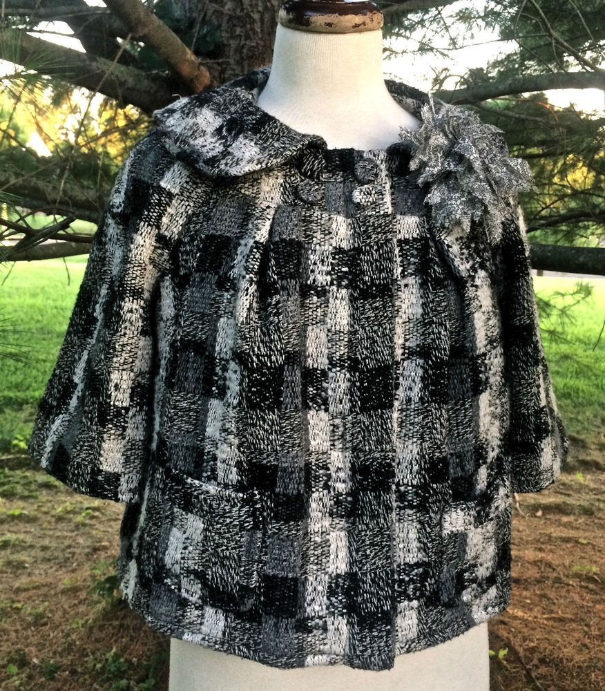 Neiman Marcus Walter black gray white thick weave check swing crop jacket EUC 6 #Walter #cropswingjacket