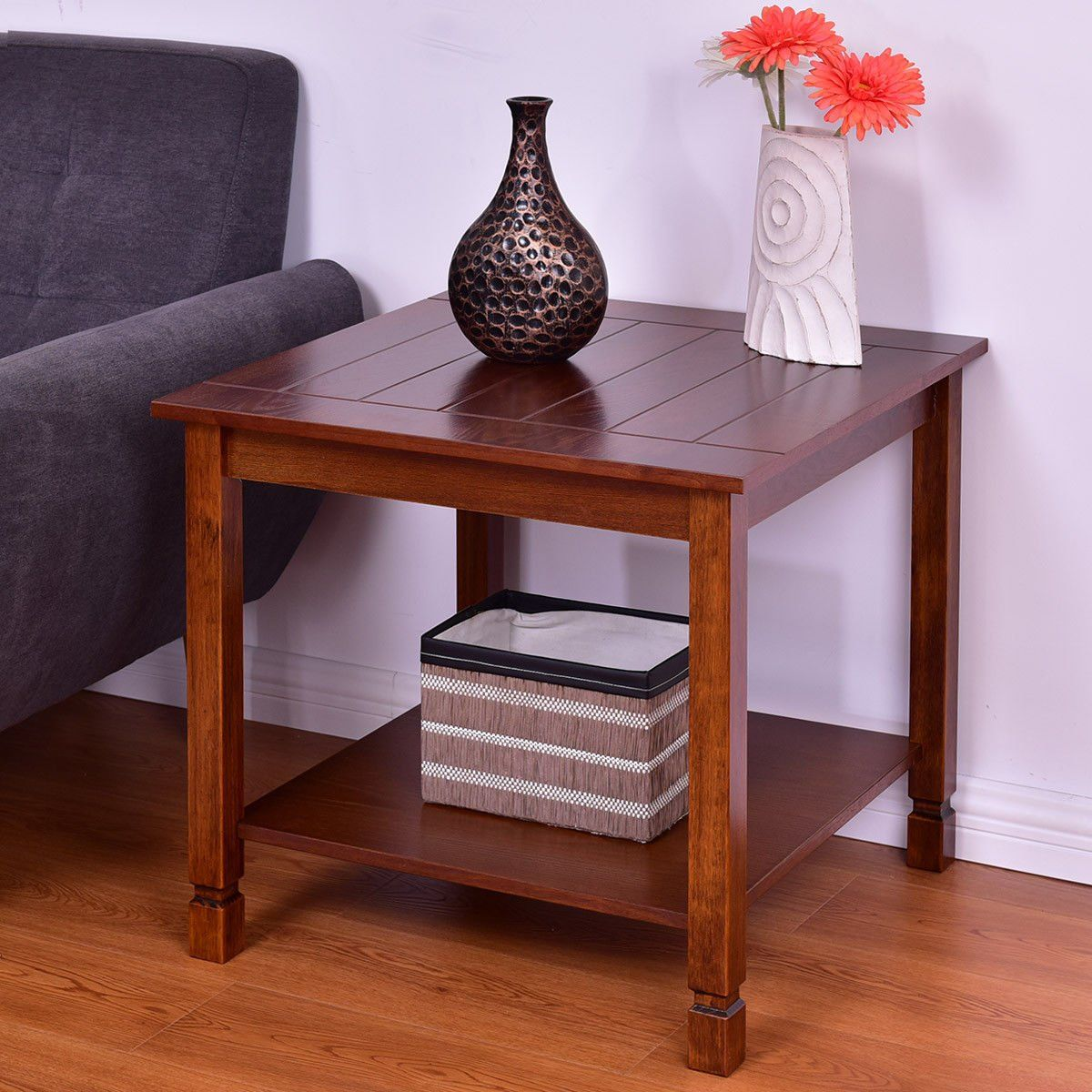 Special Offers Giantex Pine Wood End Table W Shelf 2 Tier Side Storage Bedside Sofa Table Side Table Wood Wood Side Table Living Room Living Room End Tables Living room side tables