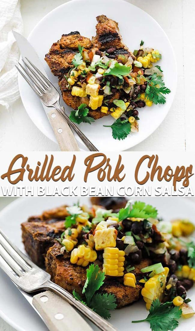 Grilled Thick Cut Pork Chops with Black Bean Corn Salsa - Fire up those grills and learn how to make these zesty spice rubbed thick cut pork chops with an easy to prepare fire roasted black bean corn salsa.