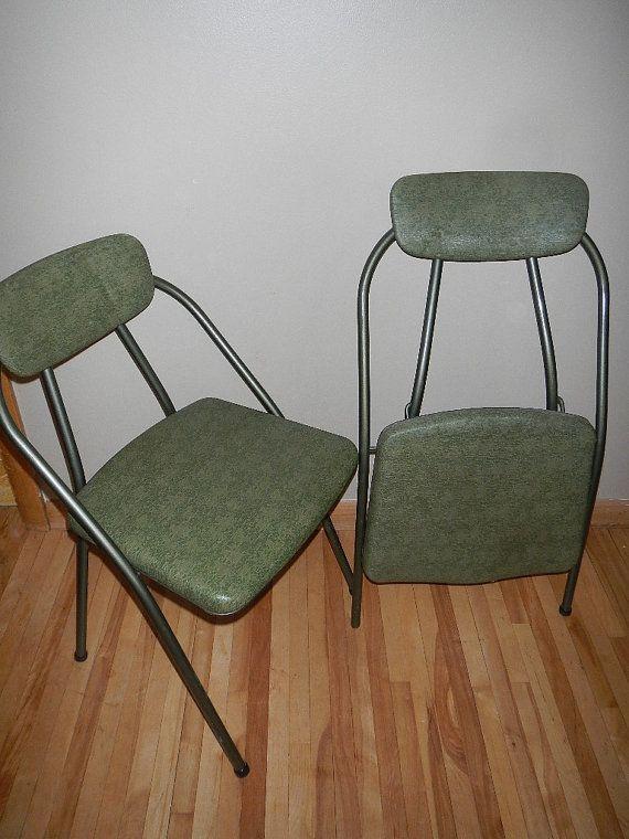 Strange Set Of 2 Vintage Cosco Green Folding Chairs By Creativecarmelina Interior Chair Design Creativecarmelinacom
