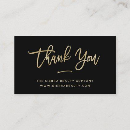 Thank You Gold And Black Small Business Business Card Zazzle Com Business Thank You Cards Company Business Cards Business Card Size