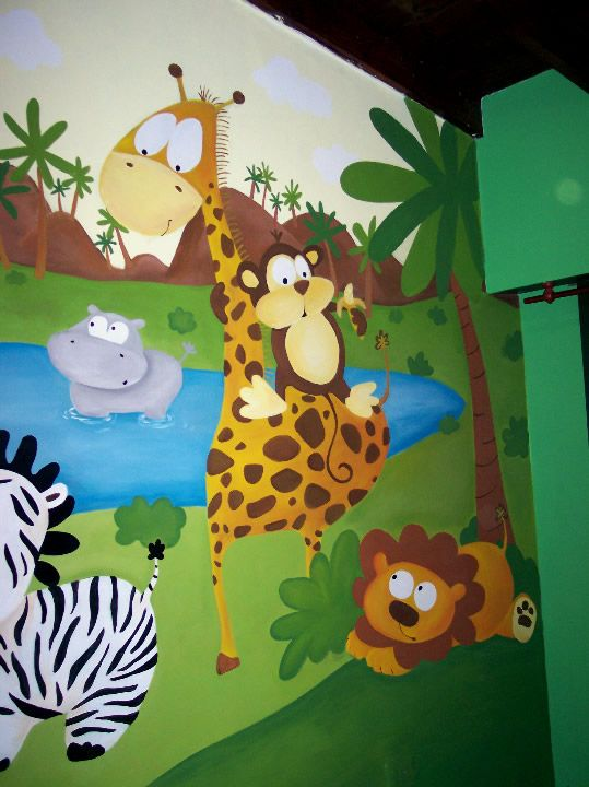 Mural painted on a baby 39 s room mural pintado en la for Murales habitacion bebe
