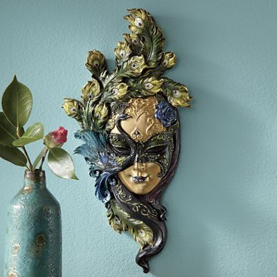This is so gorgeous! I love masks and peacocks! This would go in my office as well