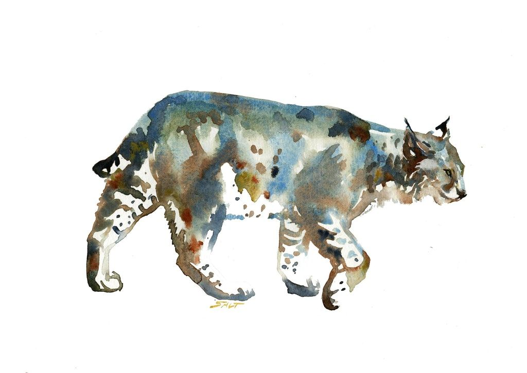 Lurker watercolor 9x12 painting art painting