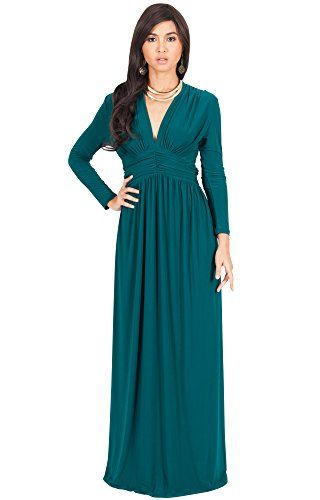 KOH KOH Womens Long Sleeve Vintage V-neck Fall Winter Formal Gown ...