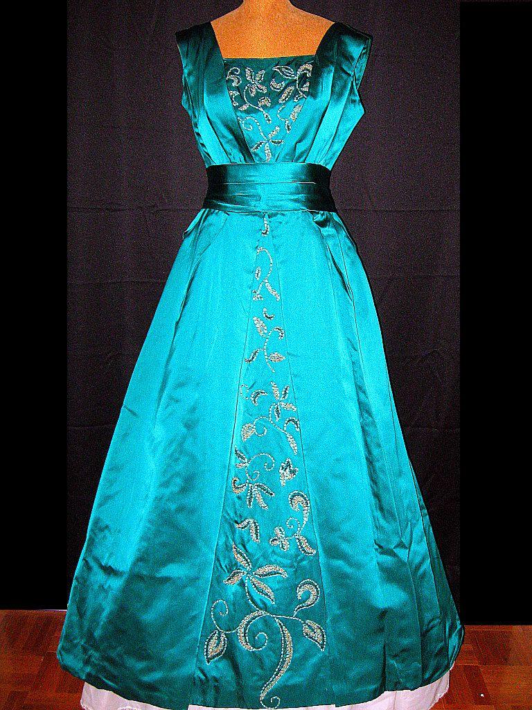 1950s CEIL CHAPMAN teal green silk satin beaded ball gown (modern ...