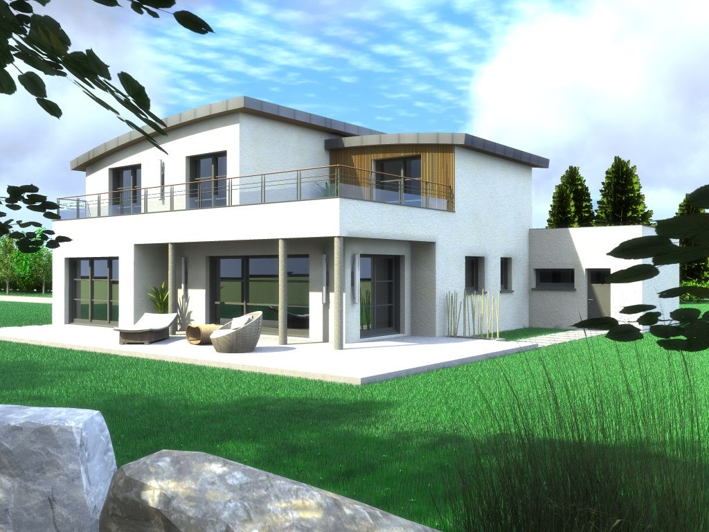 Maison contemporaine bbc maison jardin ext rieur for Plan maison monopente