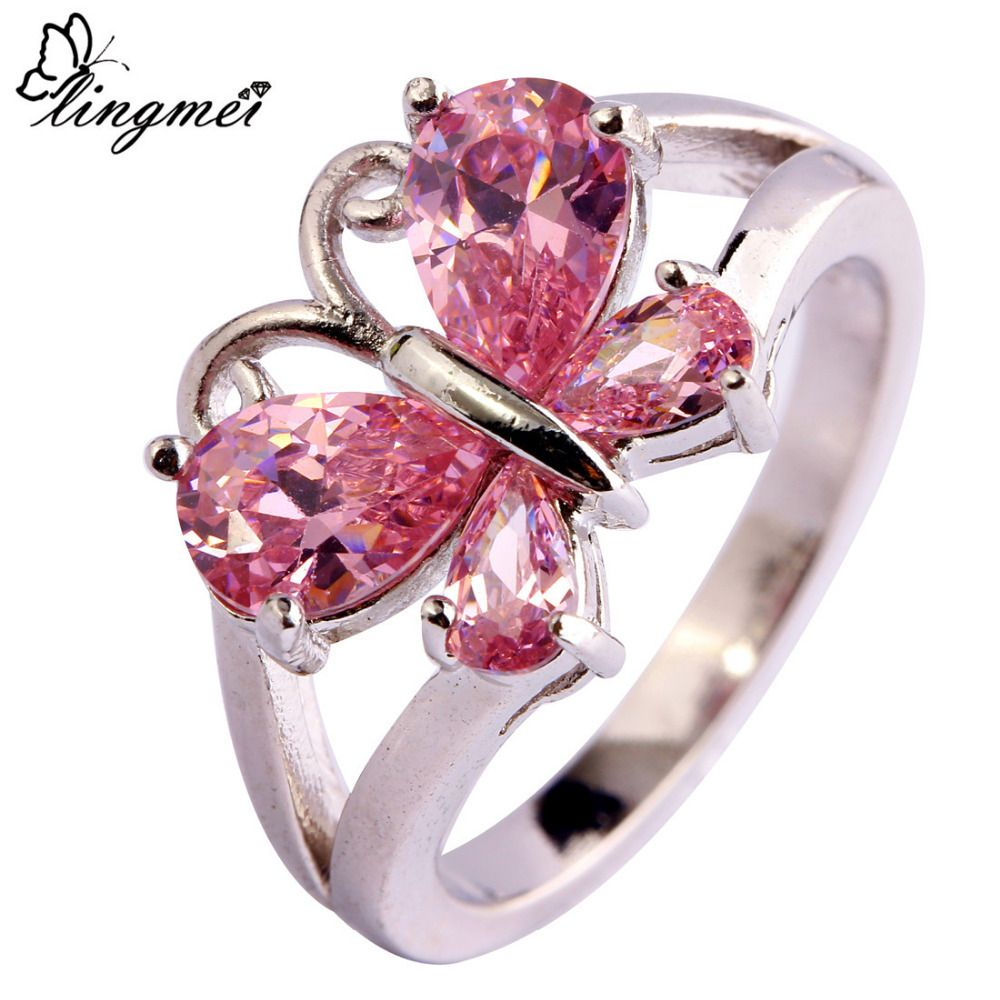 lingmei Lady Fashion Pink CZ Silver Color Ring Size 6 7 8 9 10 11 ...