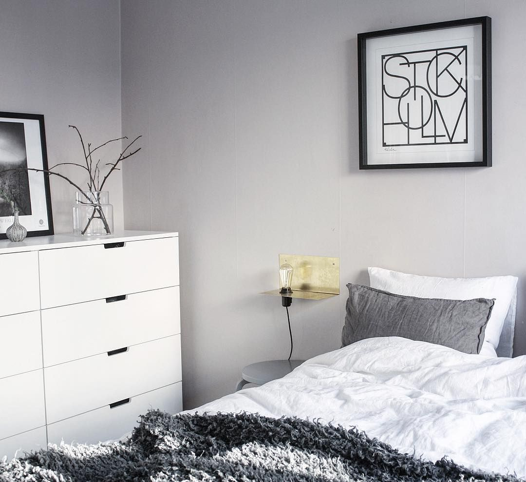 Ikea Nordli Dresser In Grey White Bedroom With Golden Accent