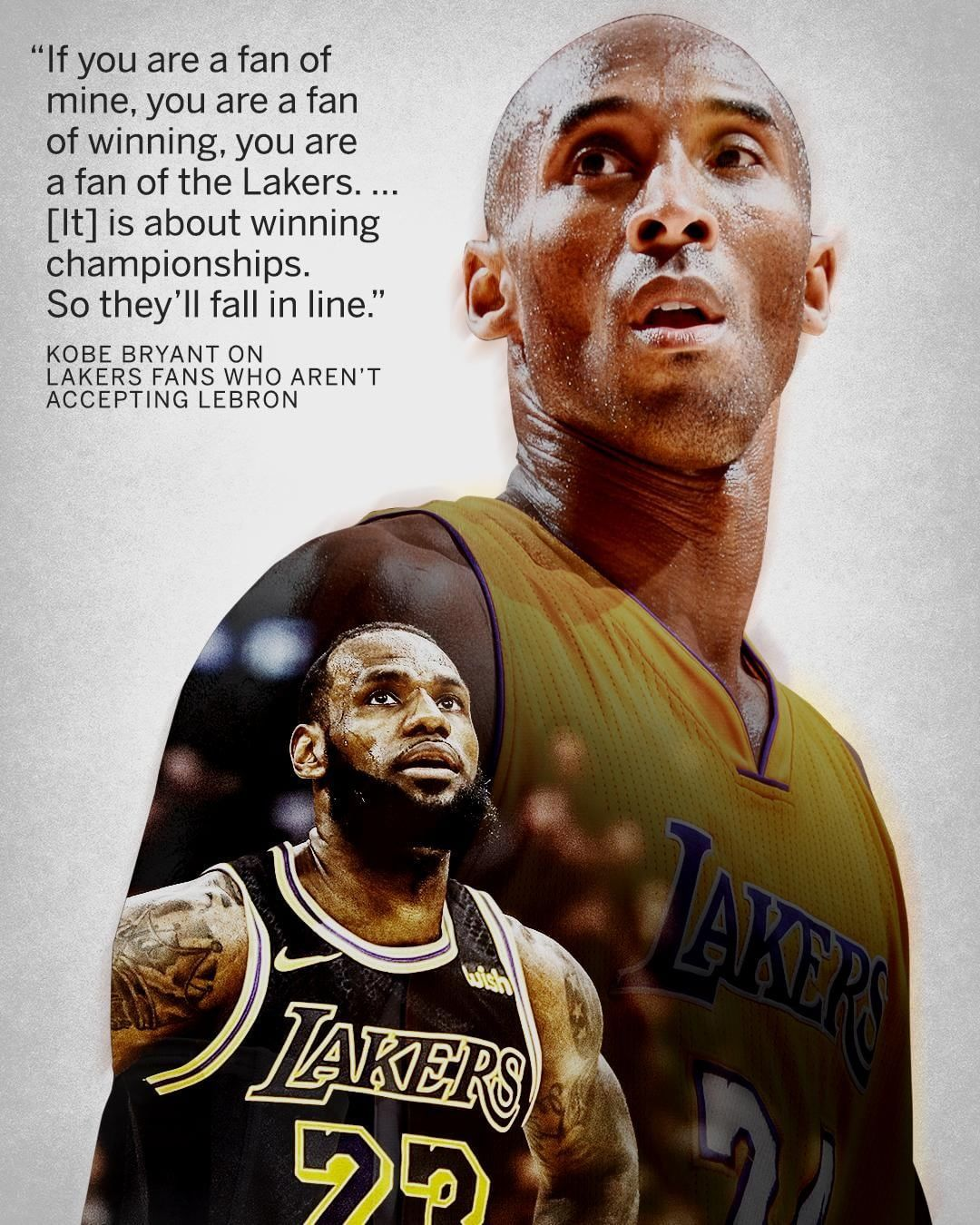 Kobe says his die-hard fans will warm up to LeBron.  1d75b675f