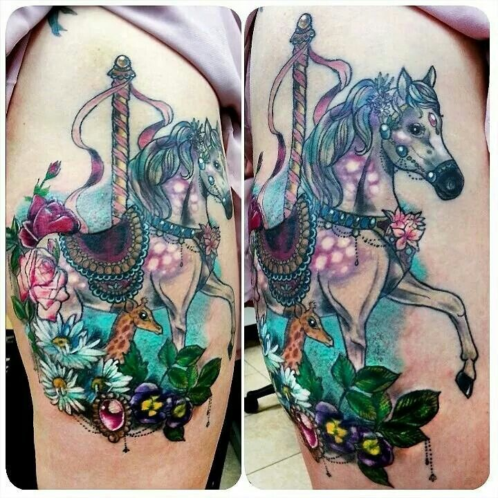 New School Horse Tattoo: Carousel Horse, Baby Giraffe, Flowers Tattoo