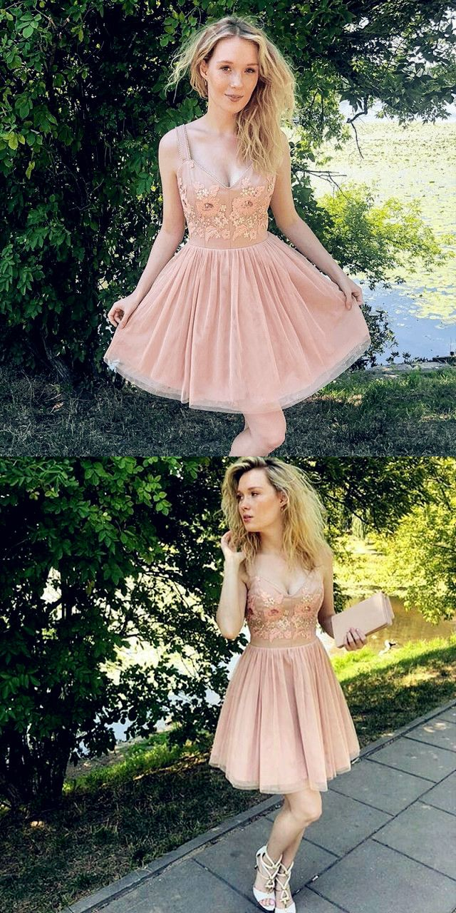 Vneck dusty pink aline short homecoming dress with appliques in