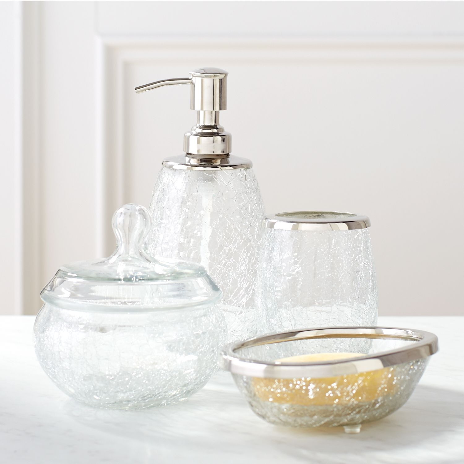 Crackle Glass Bathroom Accessories Products Glass Bathroom Bath
