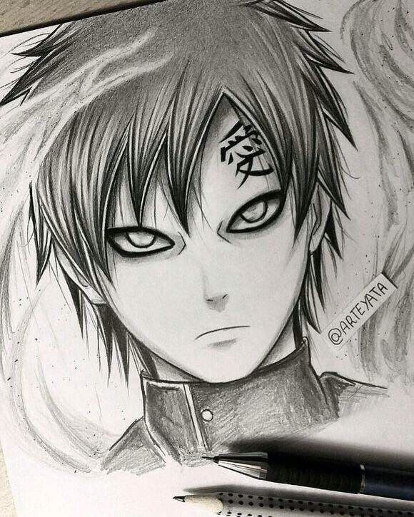 Gaara hand drawing by arteyata alex ketchum