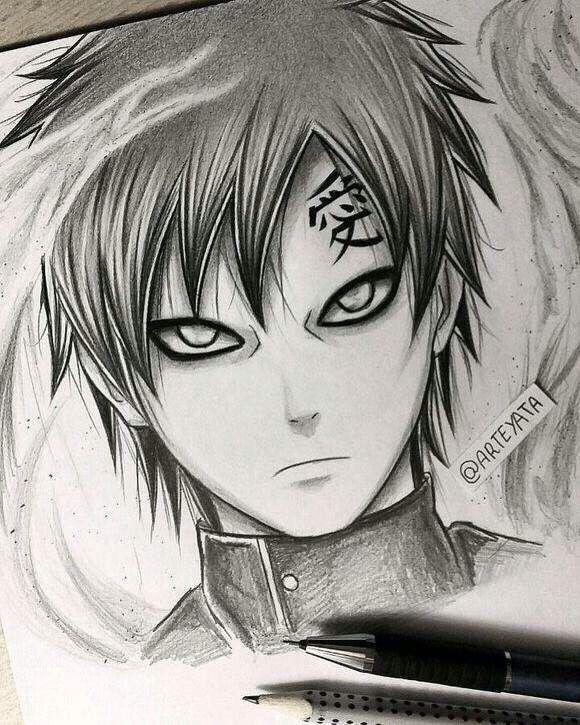 Gaara hand drawing By Arteyata  Naruto  Pinterest  Hand drawn
