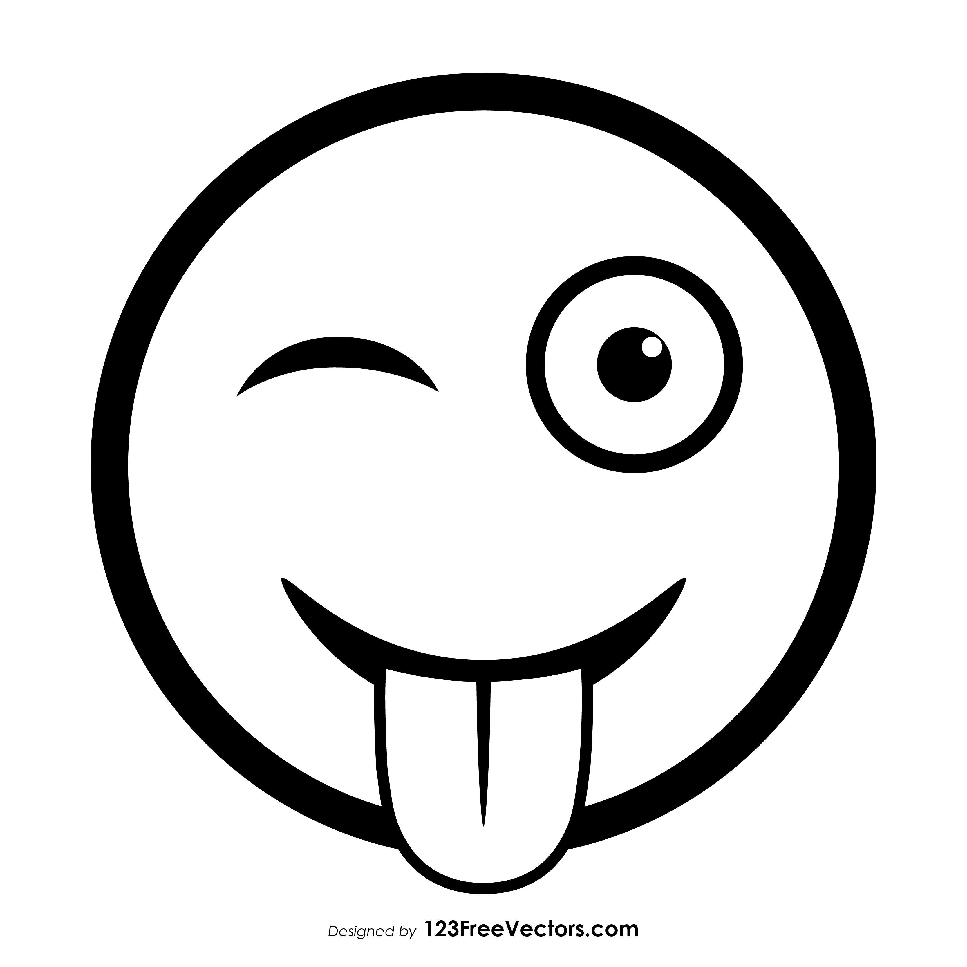 Winking Face With Tongue Emoji Outline In 2021 Emoji Art Emoji Coloring Pages Emoji Drawings