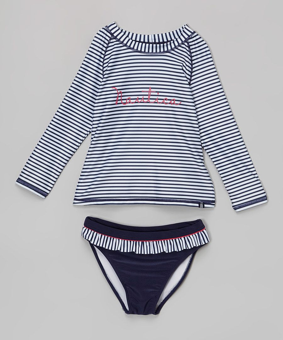 Nautica Girls Rashguard Swim Suit Set