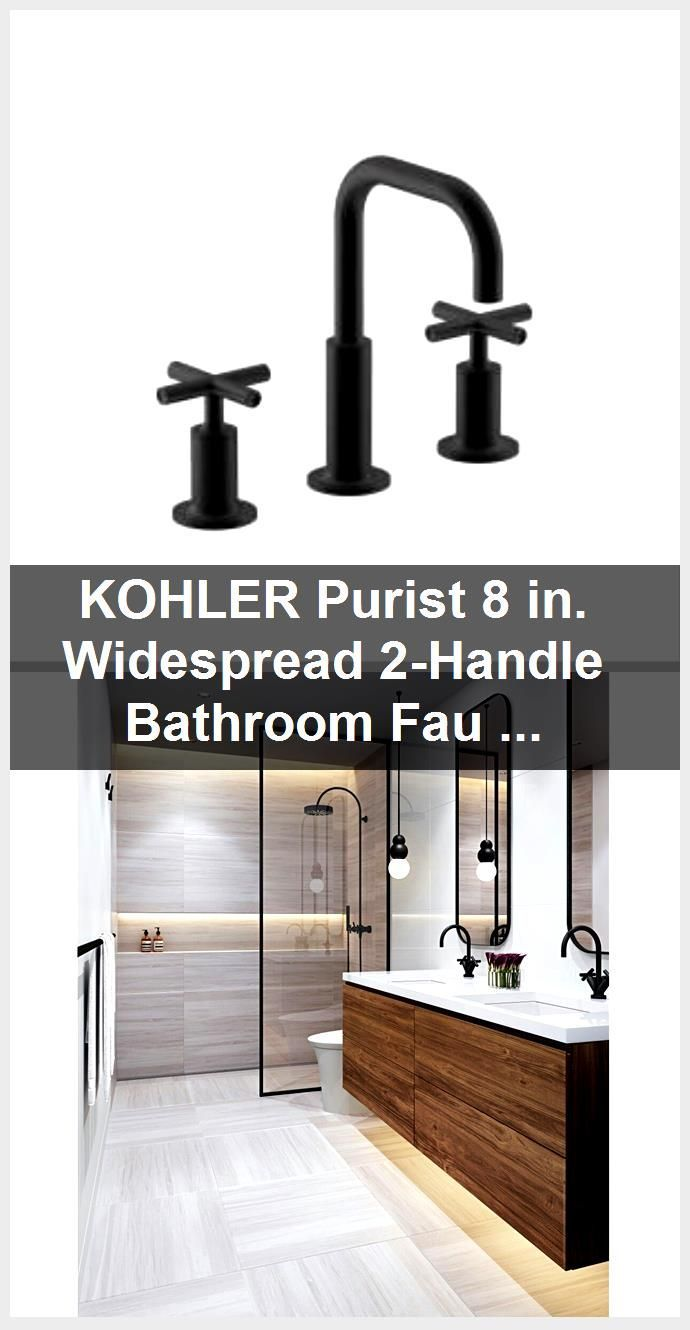 Photo of KOHLER Purist 8 in. Widespread 2-handle bathroom mixer with low cross handles in matt black …