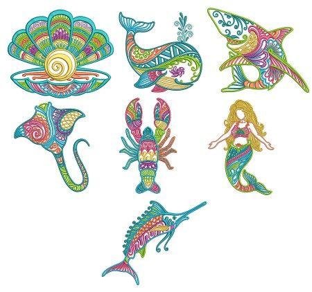Mehndi Sea Life Set 4 Machine Embroidery Designs By Juju Shark