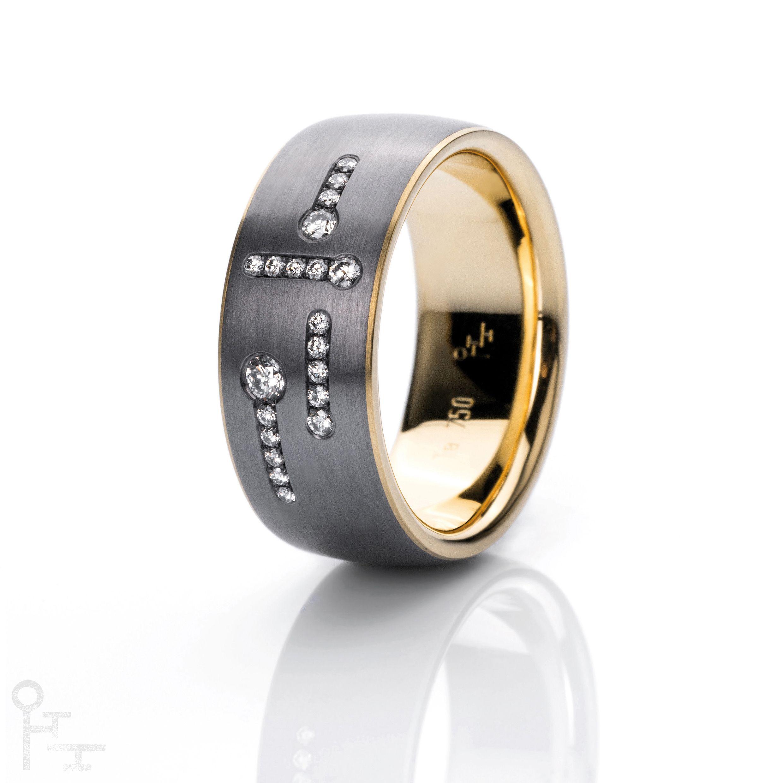 Tantal Ring Funken II Material Tantal Gelbgold 750 Diamanten