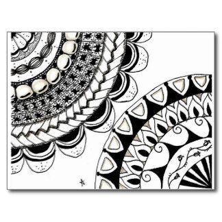 zentangle templates | zentangle mandala - double flower post cards ...
