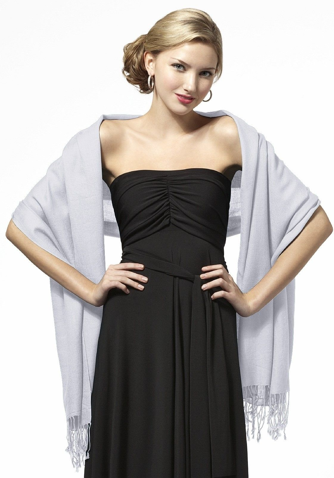 Dessy Pashmina Shawls Evening Shawls In Dove This Color Could Be Kind Of Cool Black Bridesmaid Dresses Bridesmaid Shawl Dresses