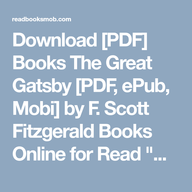 Download Pdf Books The Great Gatsby Pdf Epub Mobi By F Scott