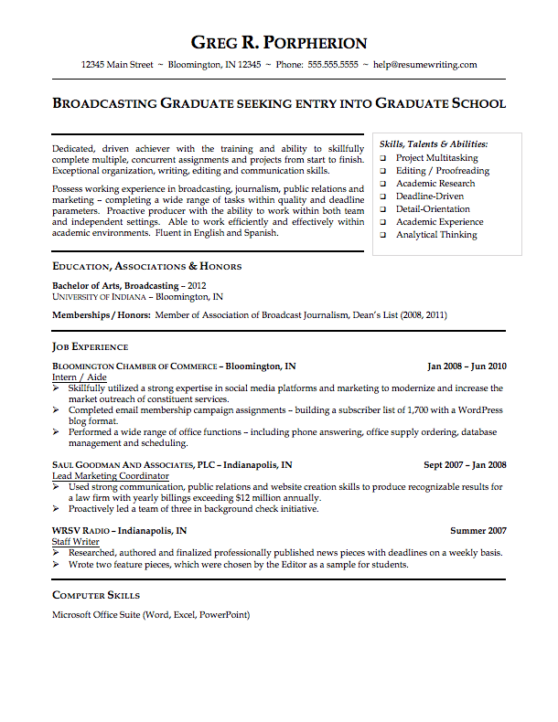 Resume College Graduate Resume Example College Student  Yahoo Image Search Results
