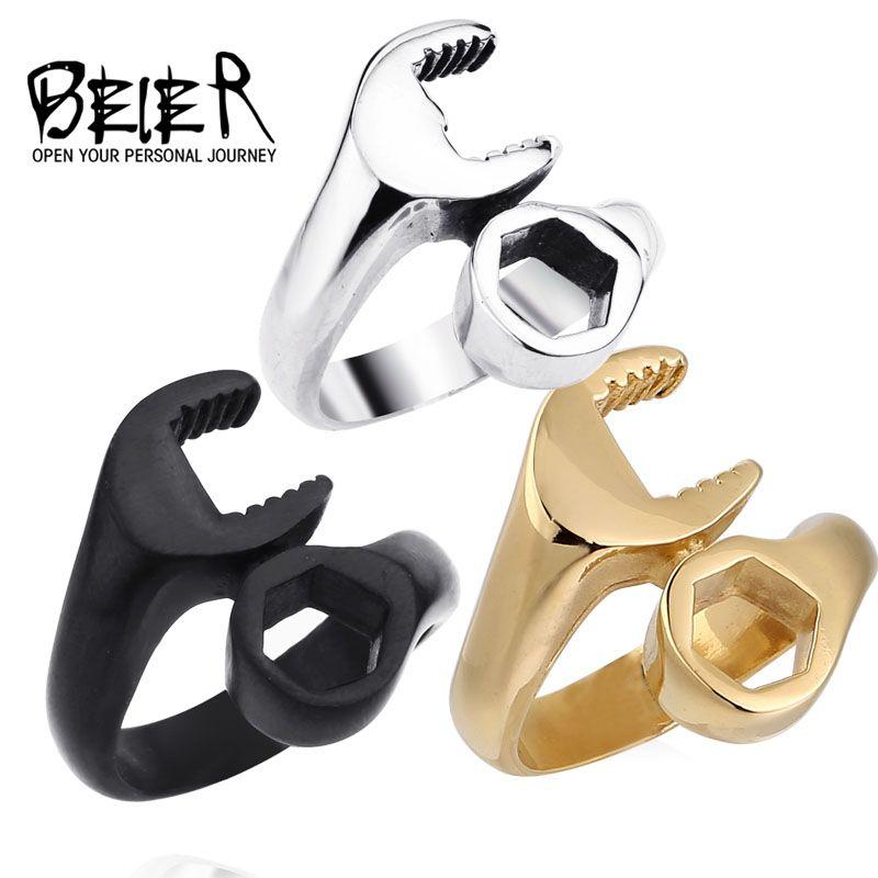 Nave de la gota venta caliente titanium 316l acero inoxidable punky del motorista anillos llave hombre hombre anillo de la joyería de la manera simple 2016 br8-021