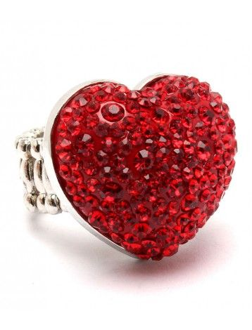 CHUNKY RED CRYSTAL HEART LADIES FASHION STRETCH RING - Heart Rings - Rings - Jewellery