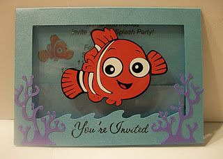 Allison's Nemo party invites using plastic from cart clamshells to create floating characters