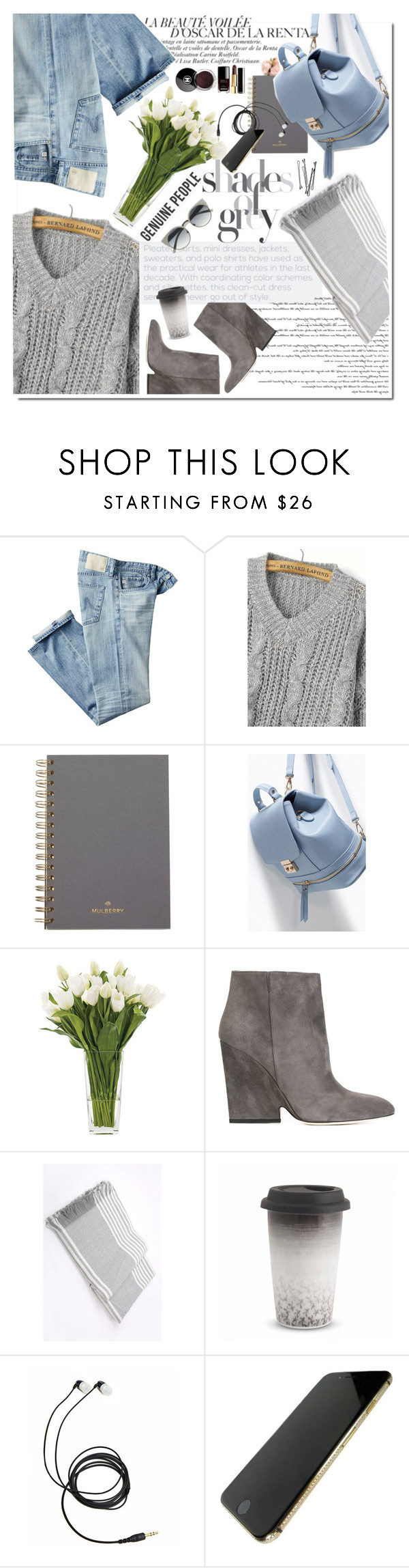 """""""Shades of grey"""" by sinsnottragedies ❤ liked on Polyvore featuring AG Adriano Goldschmied, Mulberry, NDI, Jimmy Choo, Wedgwood, Chanel, BOBBY, women's clothing, women's fashion and women"""