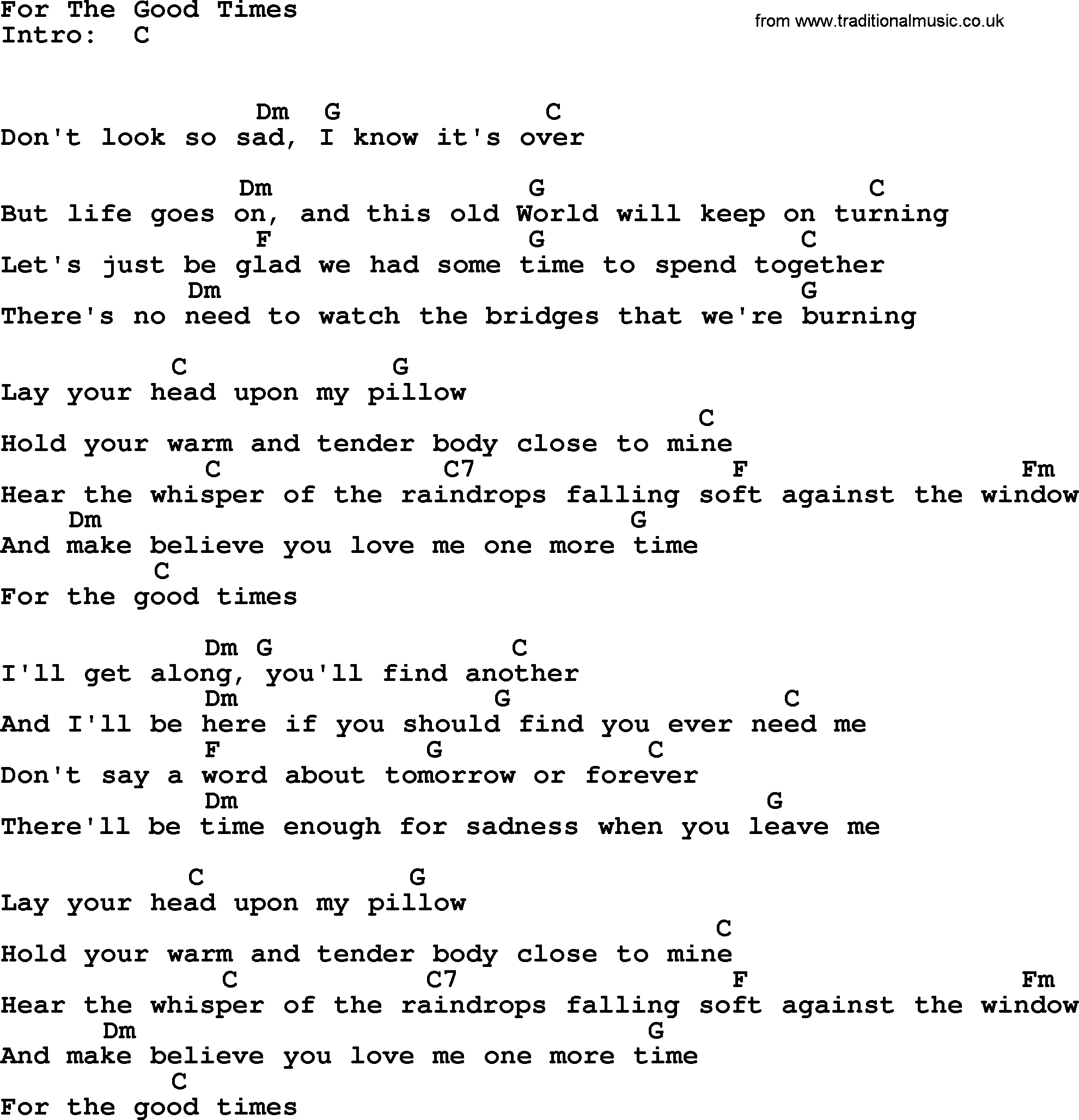 Johnny Cash song For The Good Times, lyrics and chords