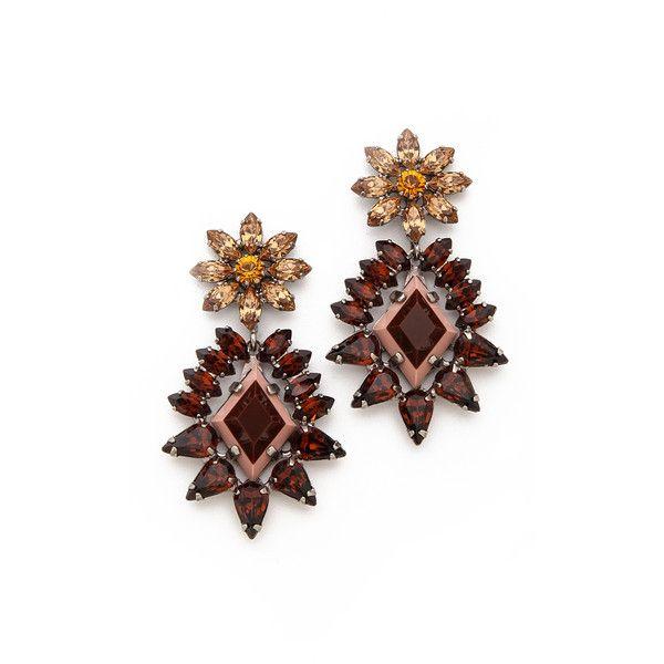 Dannijo Grady Earrings - Silver/Topaz/Dual Nude (1,065 ILS) ❤ liked on Polyvore featuring jewelry, earrings, nude jewelry, silver jewellery, multi colored earrings, silver earrings and dannijo