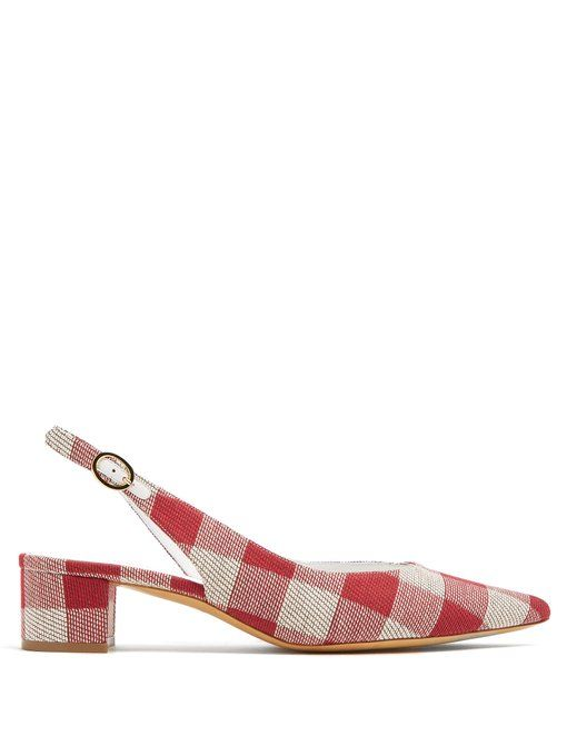 Mansur Gavriel Checkered woven slingback pumps Reliable Outlet Official Cheapest Price Online Classic Cheap Online o9xia2ADhs