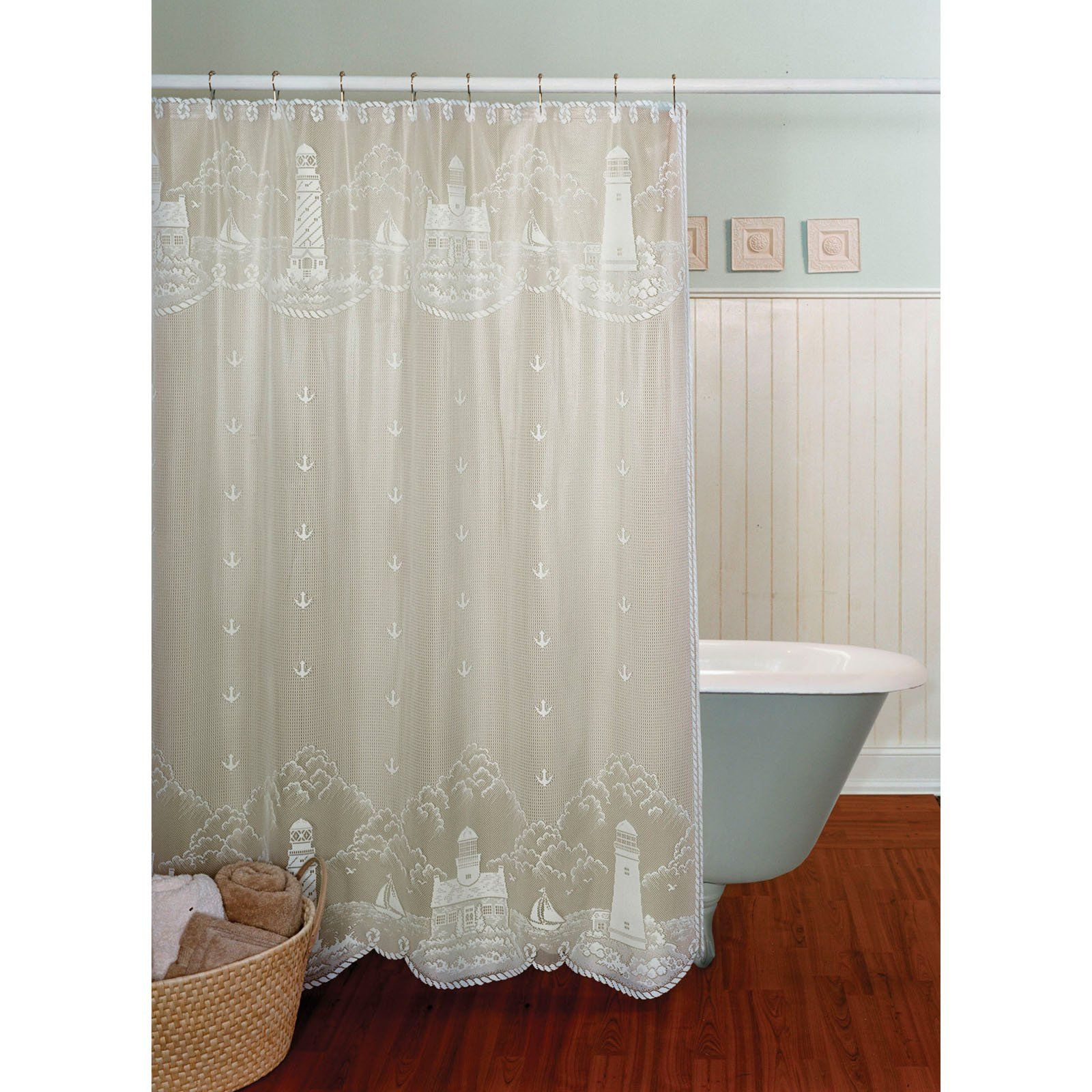 Lighthouse White Shower Curtain 72 X 72 Lace Shower Curtains