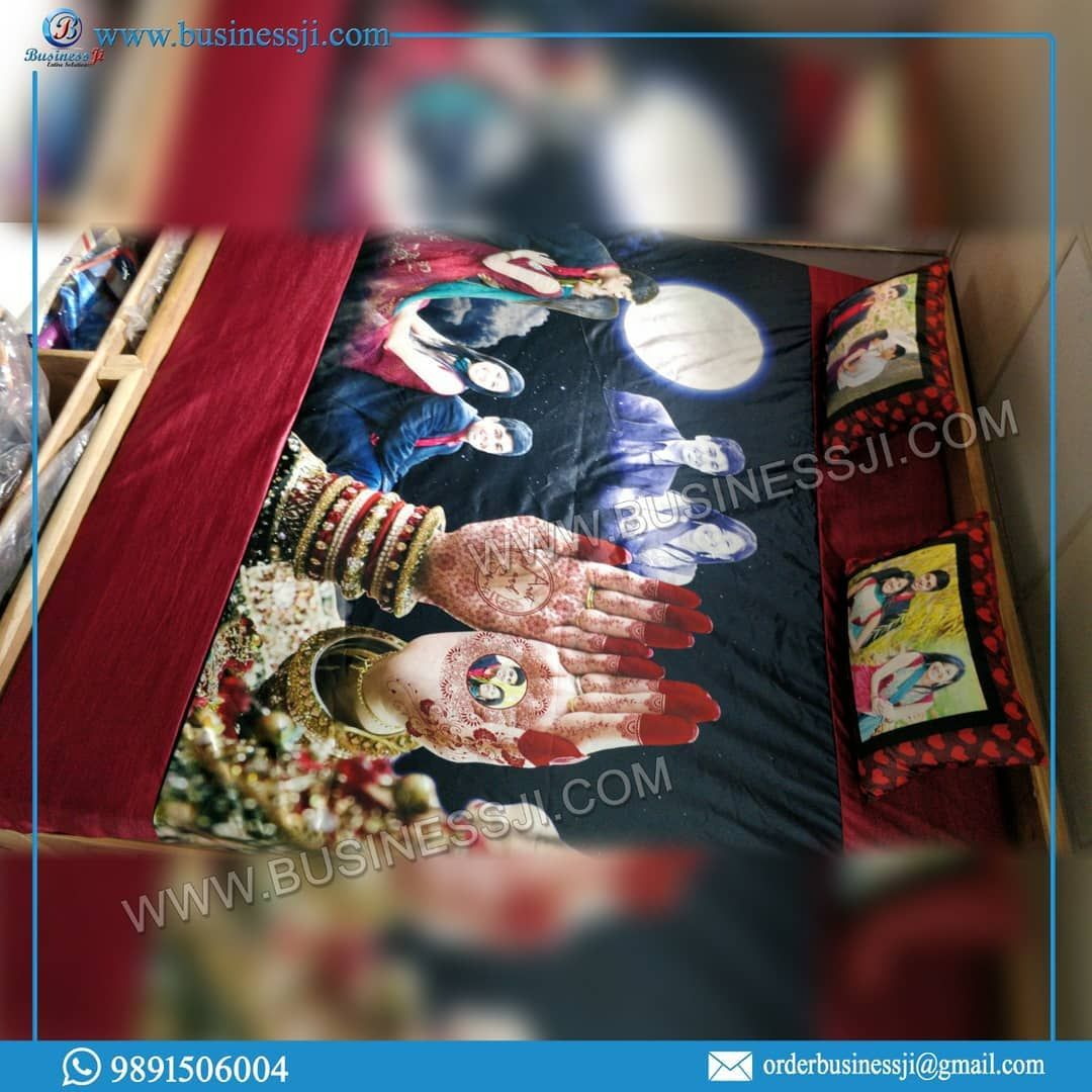 Personalized Bed Sheet Karwa Chouth Special @ibusinessji @entiresolutions @thecelebrations.org #businessji #couplegoals #karwachauth #newwedding