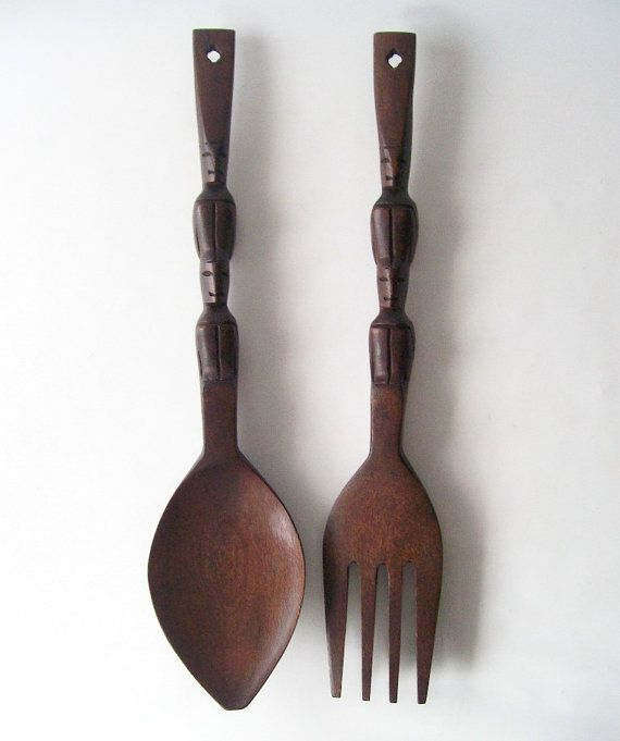 Vintage Wooden Fork And Spoon Wall Hanging Carved Mahogany Wood Totem Home Decor Large Oversized Art Boho Style Trends