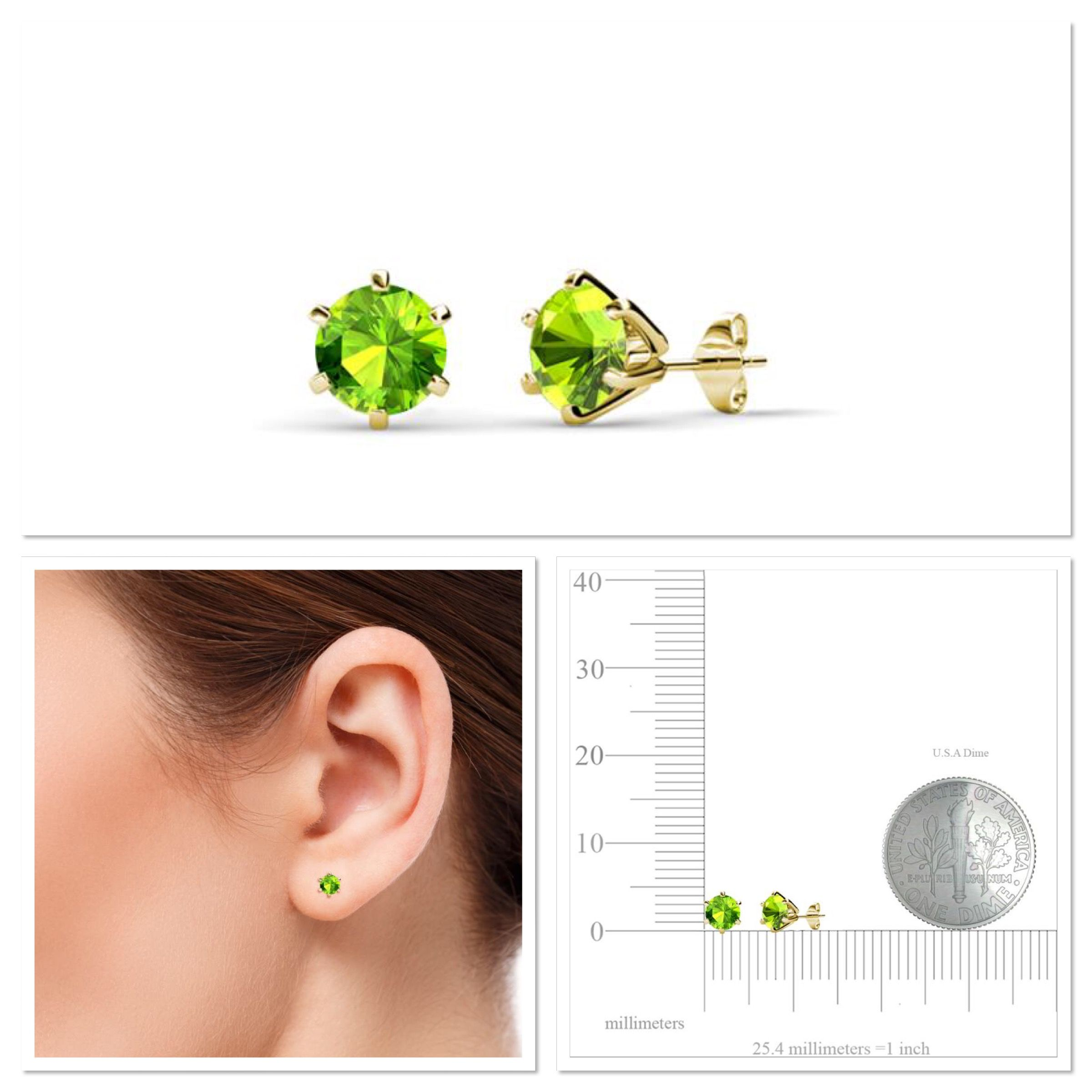 TriJewels Petite Peridot Huggies Hoop Earrings 0.25 Carat tw in 14K Yellow Gold