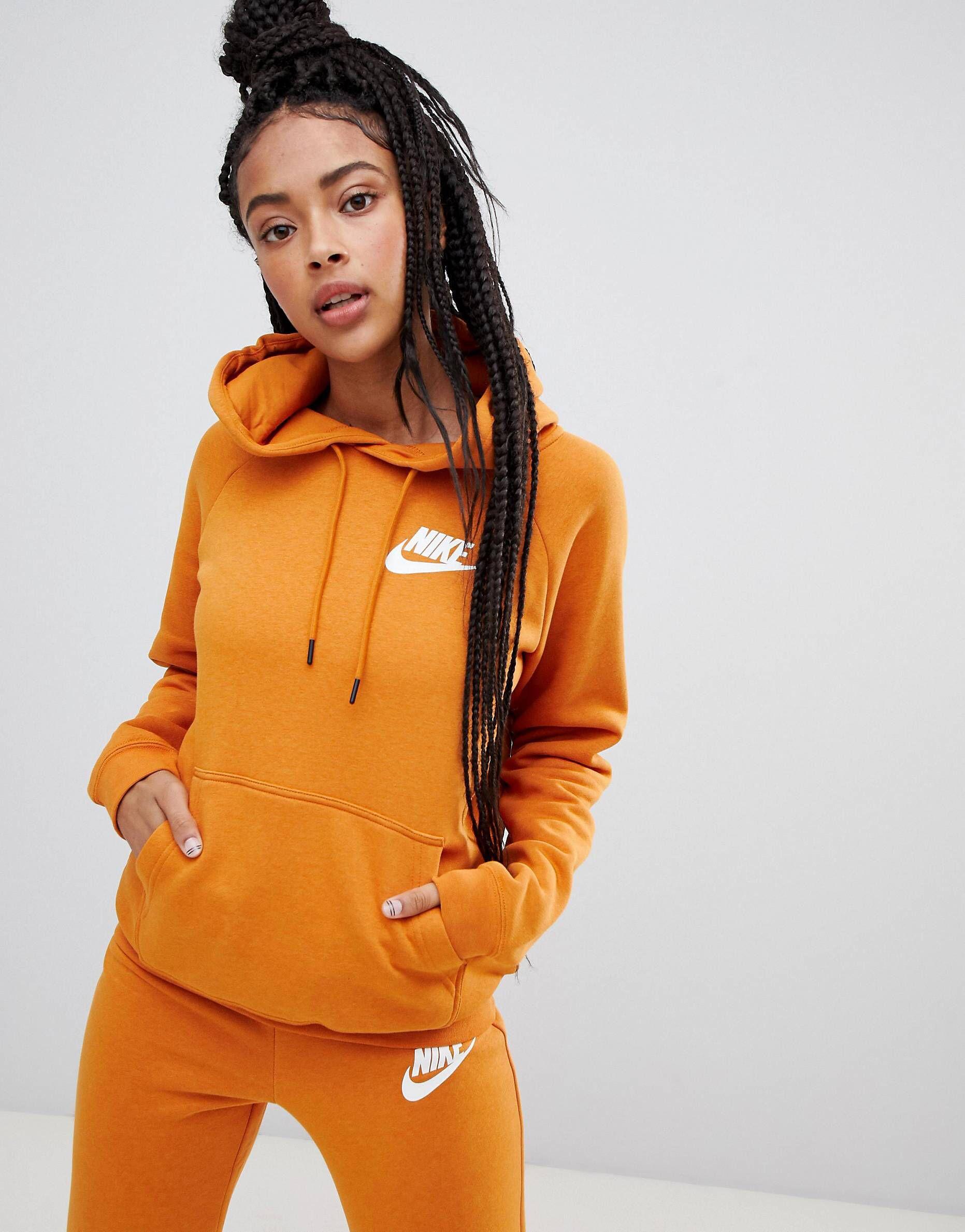newest unique design save off Nike Rally Burnt Orange Pullover Logo Hoodie   FAZHION HITZ ...
