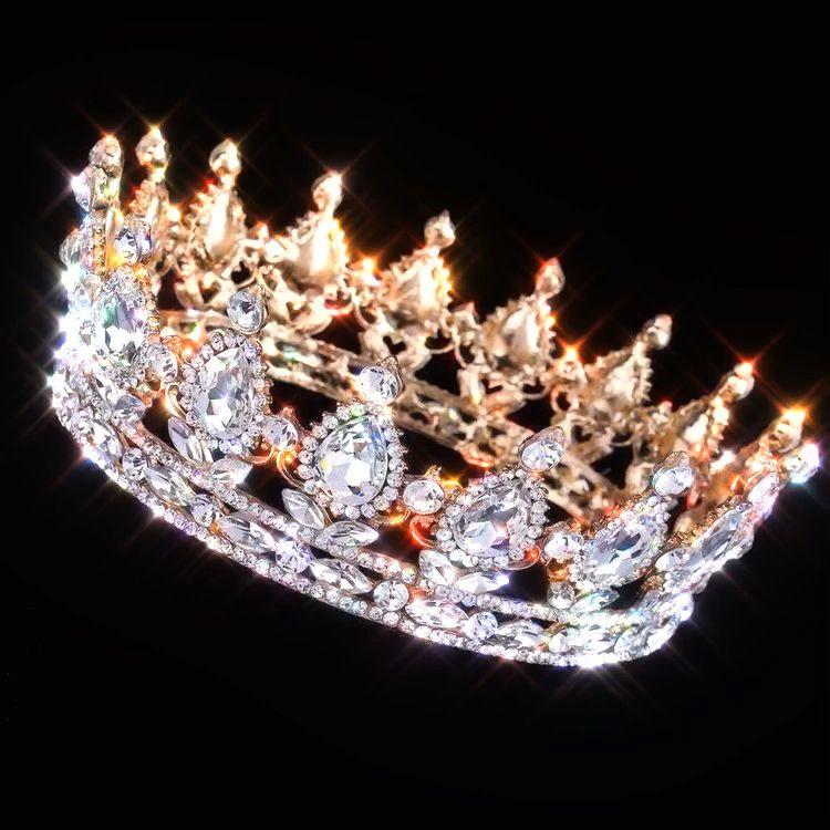 Crown gold baroque tiara for men women princess
