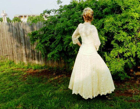 Vintage Ivory Lace Wedding Dress, Tea Length, Full Slip