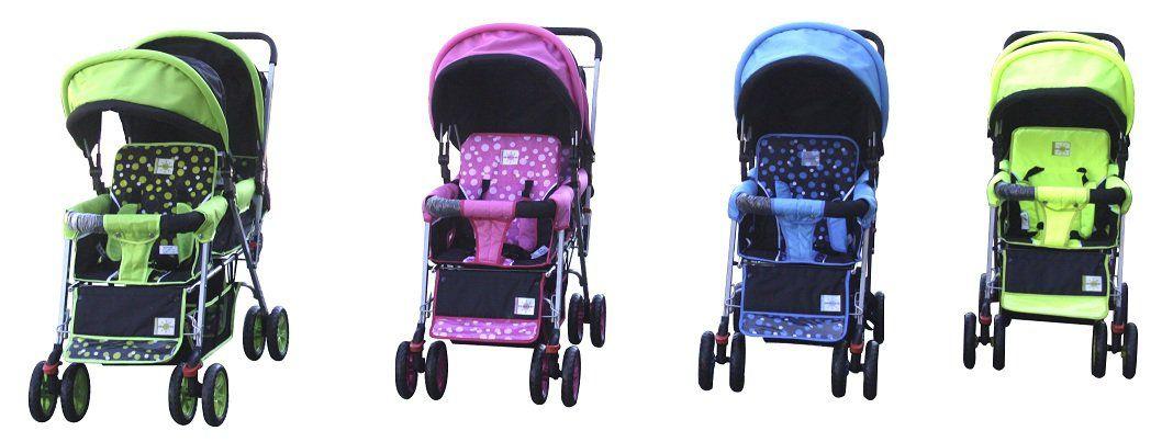 DOUBLE Stroller BLUE Baby Strollers BEBELOVE 2 Seats Multiple Multi Twin Child #ecrater