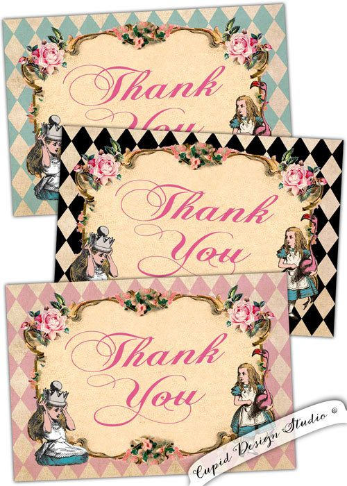 Alice in Wonderland Thank You Cards Set of 6 with Envelopes