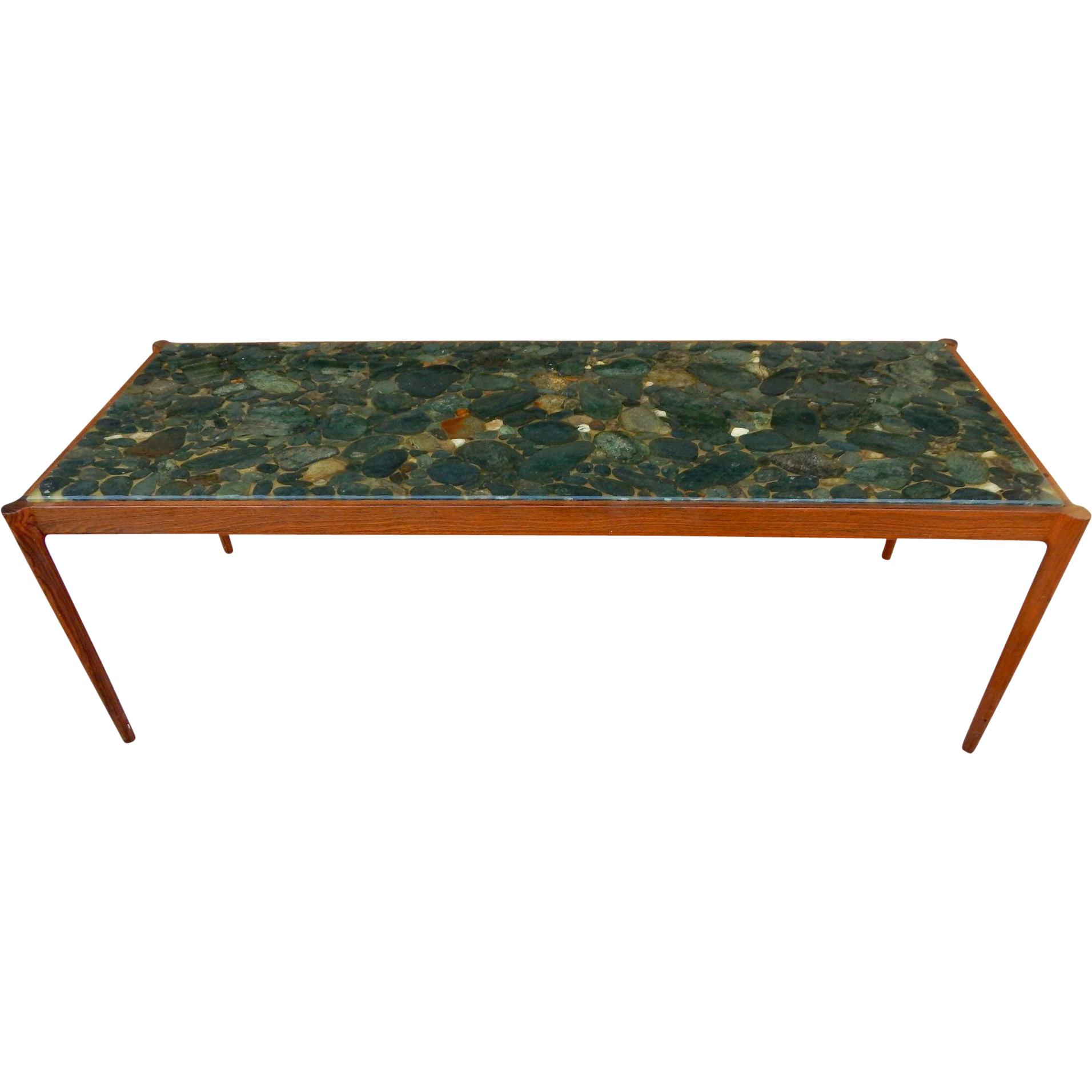 Swedish Mid Century Modern Rosewood and River Rock Coffee Table by