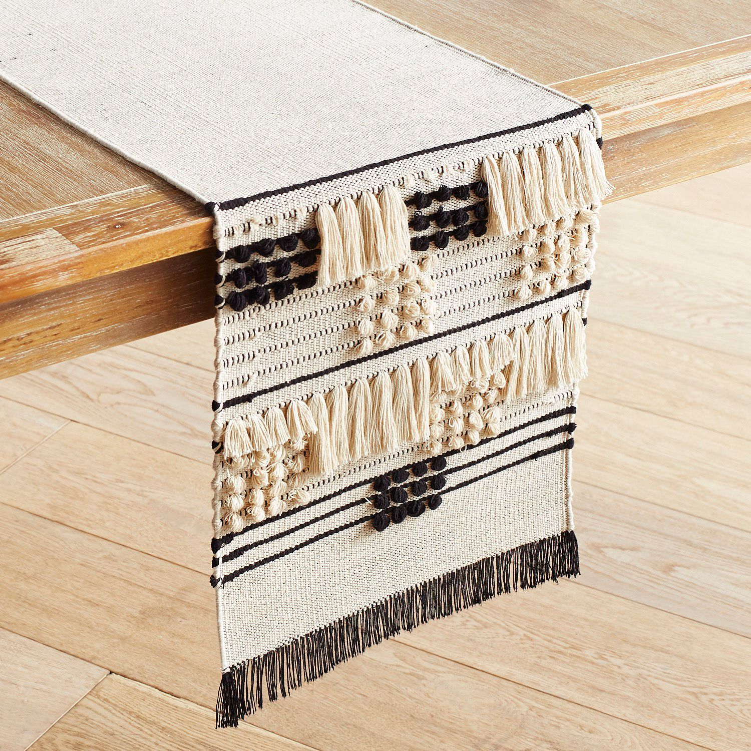 Loomed Black Ivory 72 Table Runner Pier 1 Imports Table