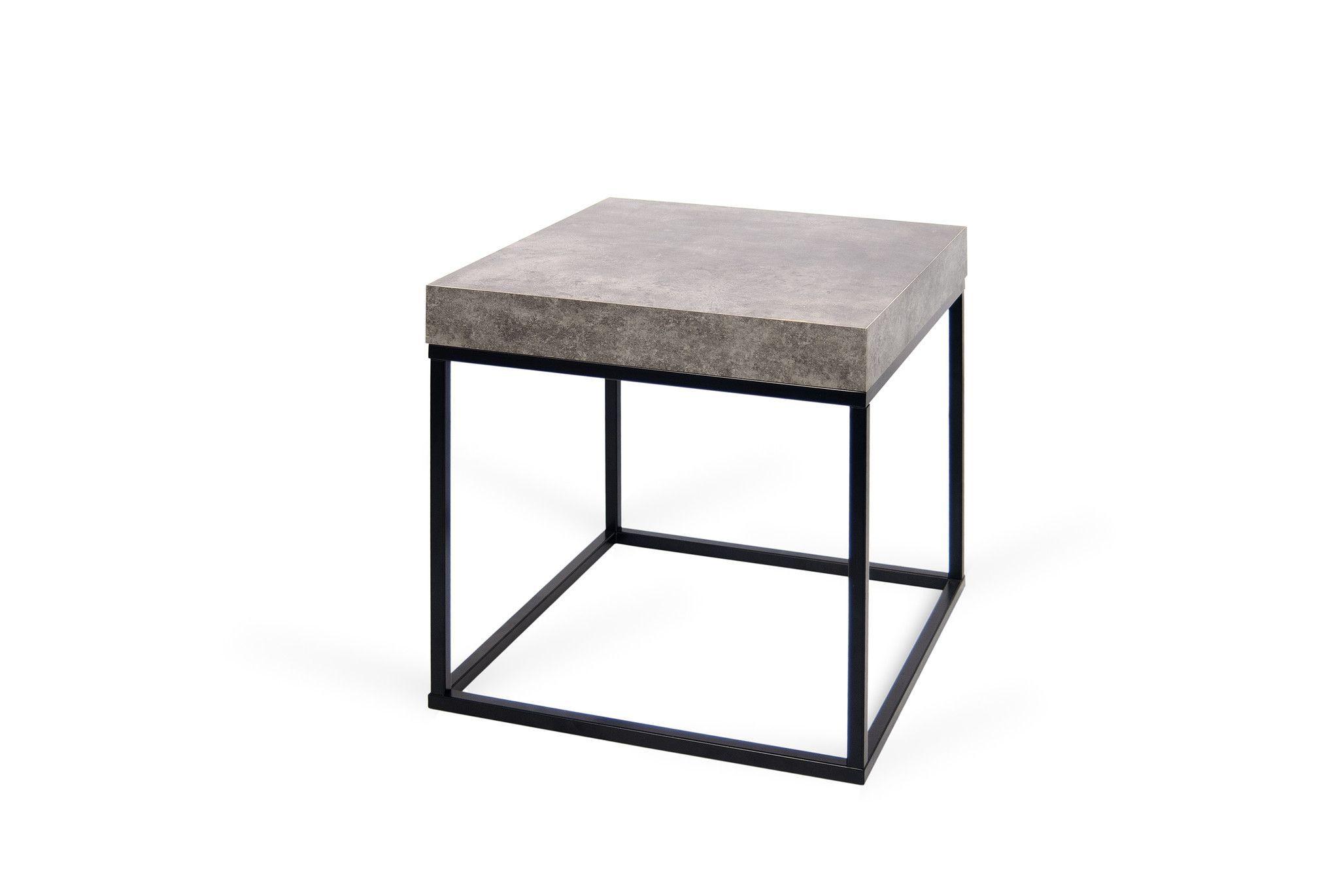 Petra End Table Faux Concrete Top Black Legs Contemporary End Tables Side Table End Tables